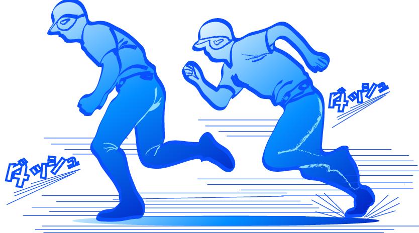 二塁ランナーの走塁イラスト