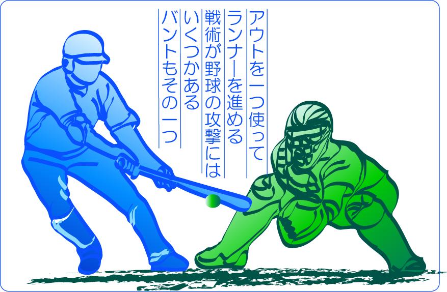 野球の戦術は論理的に考えて対応する。バントイラスト