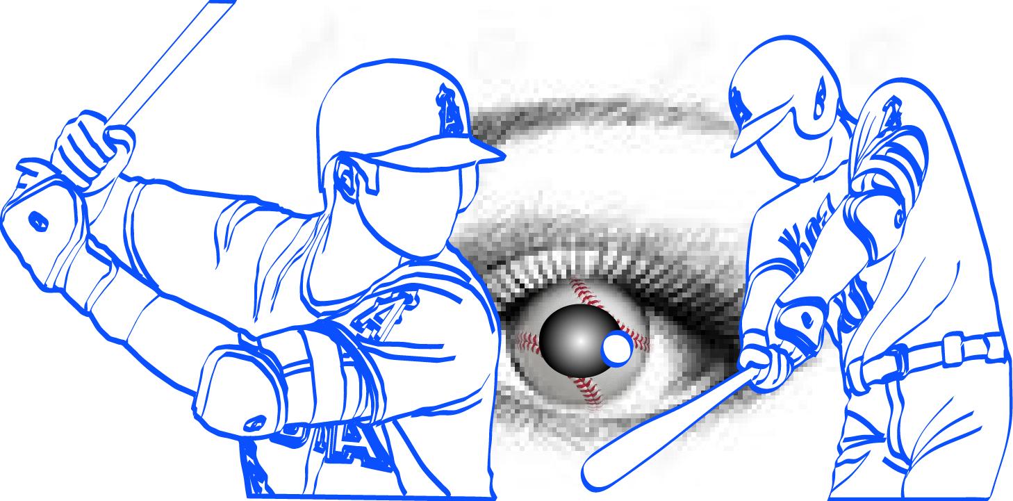 動体視力はバッティングの命イラスト